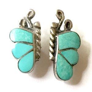 Butterfly Sterling silver Turquoise Earrings